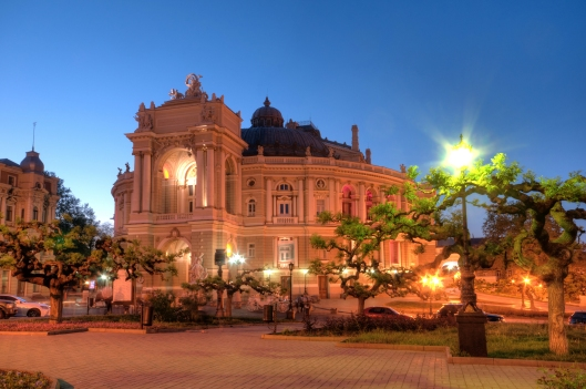 Old Opera Theatre Building in Odessa Ukraine night