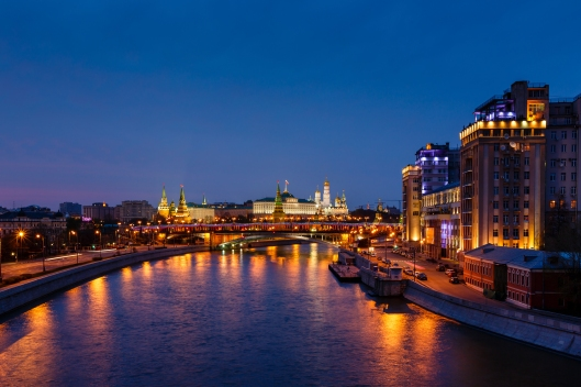 View on Moscow River Embankment and Moscow Kremlin in the Night,