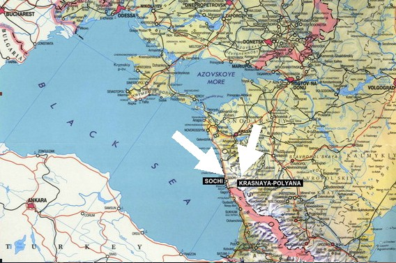 Sochi And Olympic Torchs Record Journey Through Russia And - Crimea black sea map