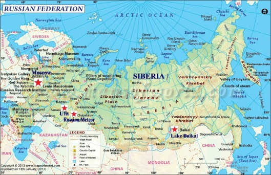 Map of Russia Baikal Ufa Meteor