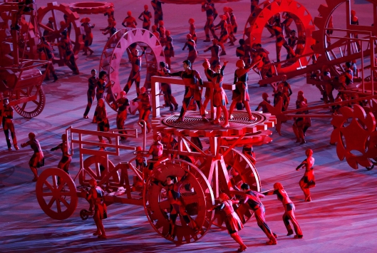 Image: Performers take part in the opening ceremony of the 2014 Sochi Winter Olympics