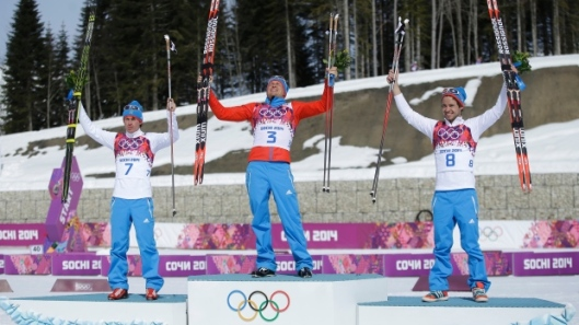 russian skiing 50K men's corss couttyr podium sweep