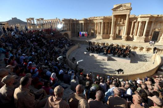 TOPSHOT - Russian conductor Valery Gergiev leads a concert in the amphitheatre of the ancient city of Palmyra on May 5, 2016. / AFP PHOTO / VASILY MAXIMOVVASILY MAXIMOV/AFP/Getty Images